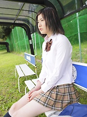 Outdoor posing of cute japanese girl Yukino