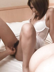 Sakura Kiryu Asian in white lingerie is fucked with middle finger