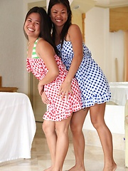 Two Filipina sisters share one white guys cock together