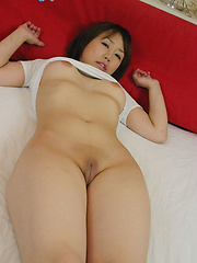 JApanese girl Norika shows her shaved virgin pussy